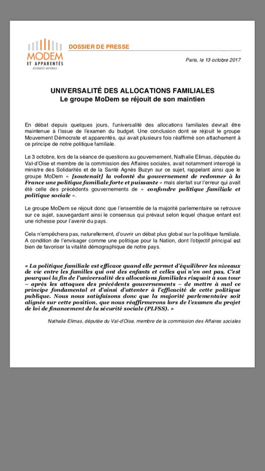 Communiqué Presse Groupe Modem Allocations Familiales
