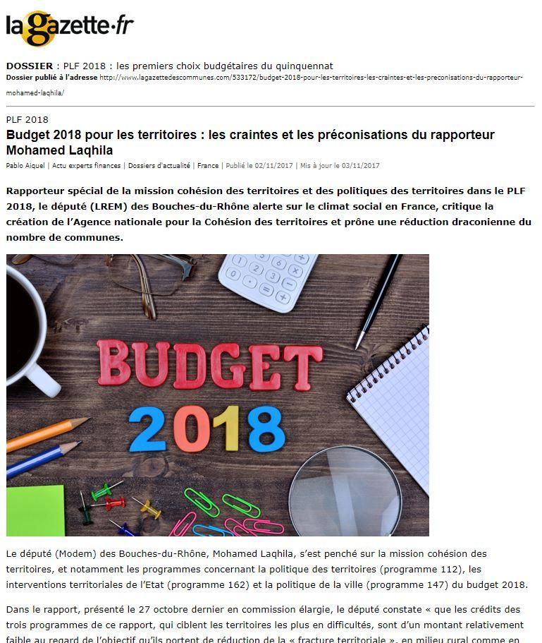 Budget 2018 Pour Les Territoires : Les Craintes Et Les Préconisations Du Rapporteur Mohamed Laqhila