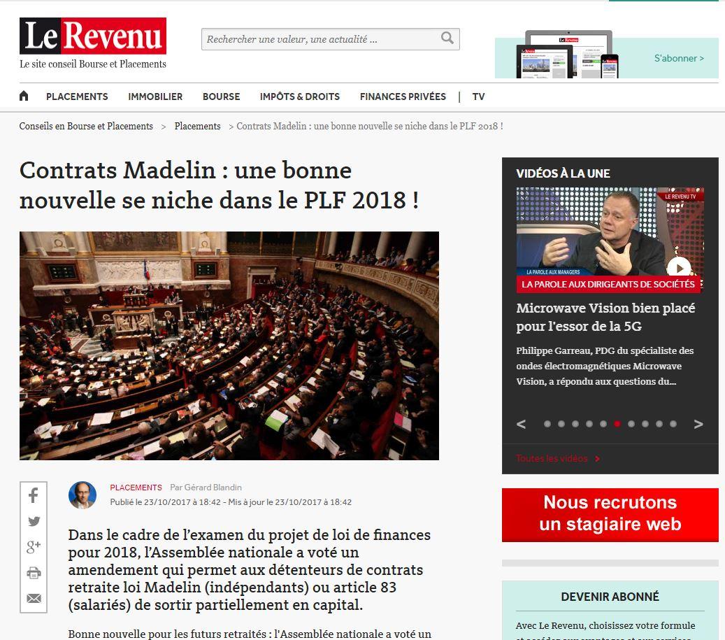 Contrats Madelin : Une Bonne Nouvelle Se Niche Dans Le PLF 2018 !