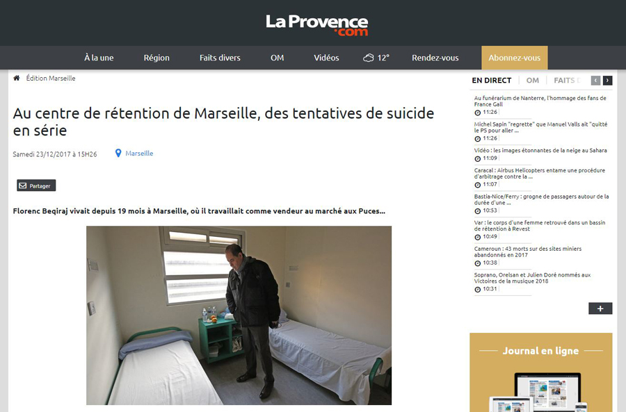 La Provence Sur La Visite De Mohamed LAQHILA Au Centre De Rétention Administrative De Marseille