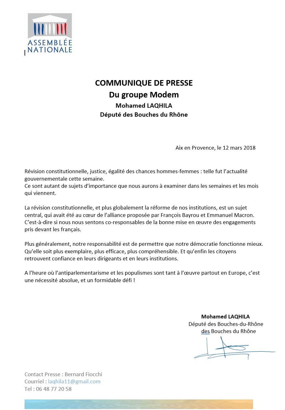 Communiqué De Presse Du Groupe Modem