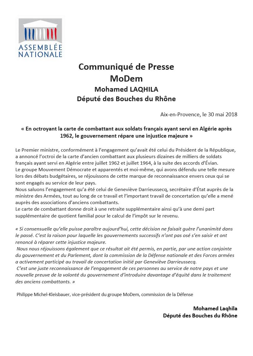 Communiqué Sur Les Soldats Français Ayant Servi En Algérie