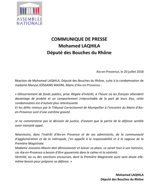 Communiqué De Presse Sur La Condamnation De Mme Maryse Joissains