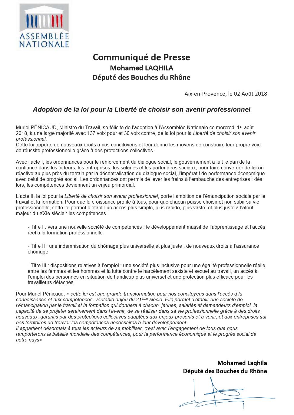 Adoption De La Loi Pour La Liberté De Choisir Son Avenir Professionnel