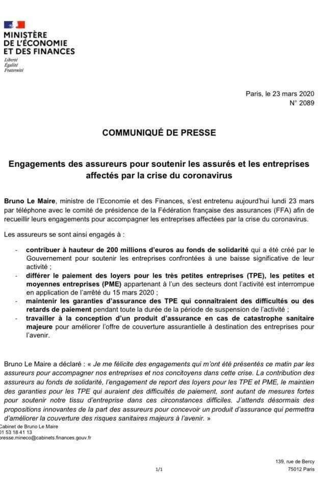 Engagement Des Assureurs Pour Soutenir Les Assurés Et Les Entreprises Affectés Par La Crise Du Coronavirus