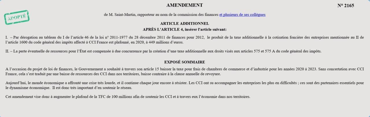 Amendement Visant à Soutenir Financièrement Les CCI
